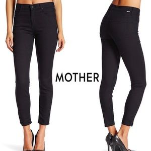 Mother High waisted ankle skinny dark wash jeans